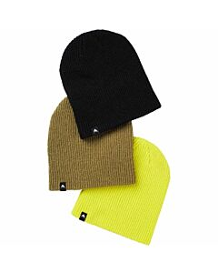 Burton DND 3Pack Beanies Youth- True Black/ Martini Olive/  Yellow