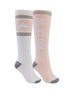 Burton Weekend Midweight 2 Pack Socks Women's- Stowe White/ Peach