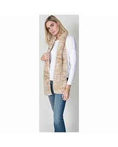 Dylan Knitted Fur Scarf- Chamois