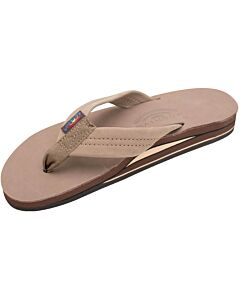 Rainbow Leather Double Layer Sandal Women's- Dark Brown