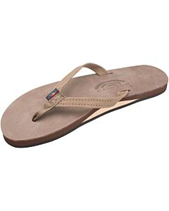Rainbow Leather Single Layer Narrow Strap Sandal Women's- Dark Brown
