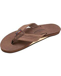 Rainbow  Leather Single Layer Sandal Men's- Expresso