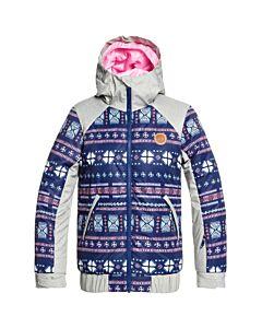 Roxy Lowland Jacket Girl's- Medival Blue Stripe