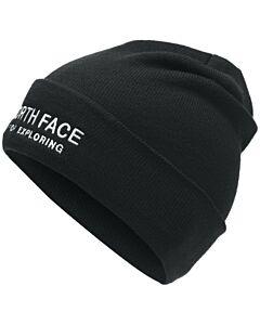 The North Face Wide Cuff Emboss Beanie- TNF Black/ TNF White