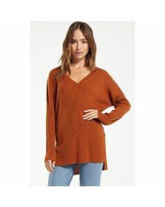 Z Supply Avalon Rib V-Neck Sweater Women's- Russet