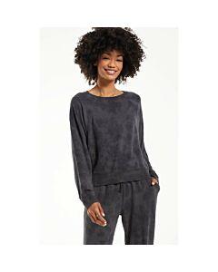 Z Supply Sleep Over Tiedye Sweatshirt Women's- Washed Black